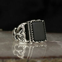 AAA Quality 925 Sterling Silver Jewelry Black Onyx Men's Ring #RNG004