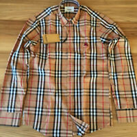 BURBERRY LONG SLEEVE BEIGE COLOR COTTON BUTTON DOWN MEN'S CASUAL SHIRT