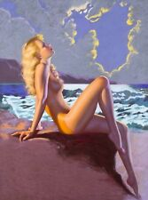 1940s Pin-Up Girl Eve-N-Tide Sunset Picture Poster Print Vintage Art Pin Up