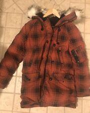Ralph Lauren Ladies Denim & Supply Red Check Parka with Fur Hood Size Medium