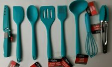 8 pc Cooking Concepts Teal Mini Silicone Kitchen Utensil Set NWT