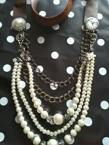 Plunder Vintage Necklace Leather  Clock Watch Pearls 1 of the Best Pieces