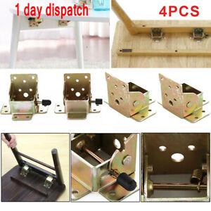 ✔4P Folding Table Legs Hinge 90 Degree Self Locking Bracket Hinges Furniture DIY