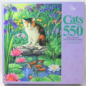 MB MARY ANN LASKER CATS AT THE LILY POND 550 PC PUZZLE 45 X 61 CM 1994 COMPLETE