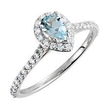 14K White Gold Aquamarine and Diamond Engagement Ring  Size 7