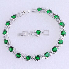 "Sterling Silver Green Emerald, White Topaz 11ct Tennis Bracelet Curved cross 8"""