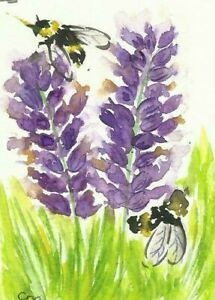 Aceo Bees & Lavender Original Watercolour,  by Casimira Mostyn