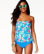 de239190ab5d6 Hula Honey Rose Print Womens 1-piece Swimsuit Blue Size Small S