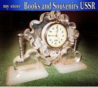 "Rare Fireplace mechanical clock USSR ""Friendship"", 11 stones, working."