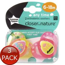 2 X Tommee Tippee Closer to Nature Any Time Soother 6-18 Months