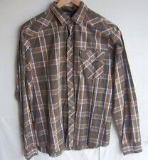 RVCA - Men's Browns/Blue Plaid L/S Button Front Shirt - SIZE M