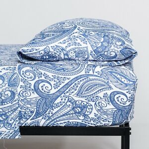 Cosy House Paisley Blue Printed Ultra Soft Bed Sheet Set Patterned Bedding