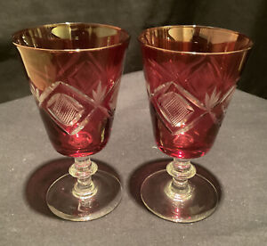 2 QUALITY VINTAGE RETRO DEEP CUT RED GLASS WINE SHERRY CRYSTAL WHITE BAR SHORT