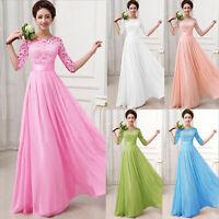 Ladies Elegant Lace Long Dress Prom Evening Bridesmaid Cocktail Party Dress S~XL