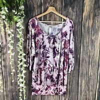 LC Lauren Conrad Top Large Women's Boho Stretchy Tunic Floral Multicolor Cozy