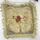 """HAND STITCHED WOOL NEEDLEPOINT PILLOW COVER FLOWERS TASSEL EDGE 17"""" VINTAGE"""