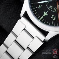 POLJOT 20 mm Uhrarmband Edelstahl matt satiniert Anstoß gerade 3 Knoten Glieder
