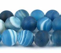 Natürliche Streifen Achat Perlen Kugel Matte Blau 6mm Edelsteine Natur BEST G127