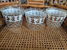 Three (3) clear glass pot vase greek hellenic unusual set white/gold-no chips