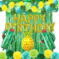 65pcs Cactus Balloon Tissue Pom Pom Foil Curtain Set Hawaii Luau Party Supplies