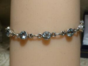"""Lovely Sky Blue Topaz 5.5ct Sterling Silver 925 Tennis Bracelet 7.25"""" Gift Box"""