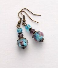 Sky Blue Lampwork and Purple Roses Crystals Bronze Vintage Style Dangle Earrings