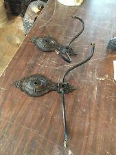 Lt 21 Pair Antique Iron Gas To Arm Sconces