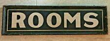 "Antique 1920's Hand Painted 2 Sided Wood Sign ""Rooms"" From City Of Boston MA"