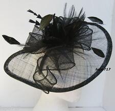 Sombrero Negro Plumas endurecidas Fascinator De La Boda Ascot Carreras Hen Fiesta Damas día