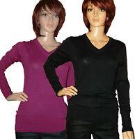 LADIES V-NECK LONG SLEEVE WOMENS SMART JUMPER TOP SWEATER BLACK CERISE PINK 6-18