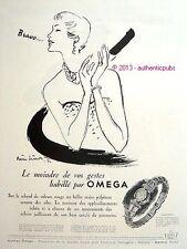 PUBLICITE OMEGA MONTRE CONCERTA BRAVO FEMME SIGNE PIERRE SIMON DE 1950 FRENCH AD