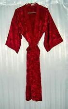 Thai Silk Kimono / Robe / Dressing Gown / Night Dress / Dark Red Floral Pattern