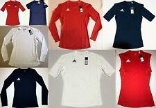 Men Women Adidas Shirt Red Blue White Base Layer Compression XS S M L XL 2XL 3XL