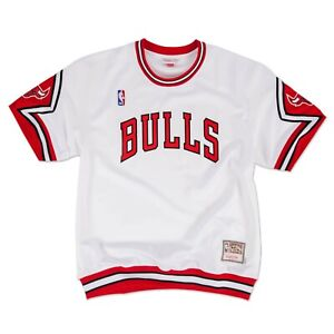 Authentic Mitchell & Ness NBA Chicago Bulls White Shooting Shirts Jersey