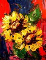 SUN FLOWERS  IMPRESSIONIST LARGE ORIGINAL OIL  PAINTING  CANVAS ART - ERG