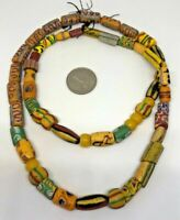 Mixed VINTAGE Millefiori Glass Beads Old Antique Natural Round Necklace