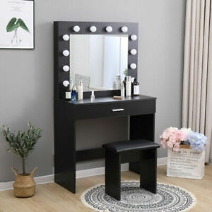 Dressing Table LED Mirror Hollywood Makeup Light Vanity Desk Lights Black