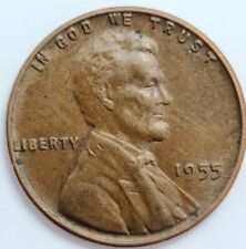 1955 Lincoln Wheat 1¢ Cent USA Penny ERROR EXTRA METAL REVERSE Philadelphia Mint