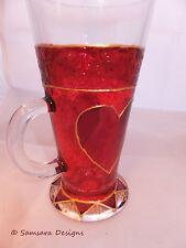 Red Heart Hot Chocolate Latte Glass Mug Valentine Gift Unique Handpainted
