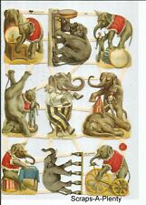German Embossed GLITTER Scrap Die Cut - Circus Elephants Animals NICE  7428G