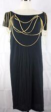 Bettina Liano Black & Gold Chain Design Short Sleeve Dress 100% Viscose Size 10