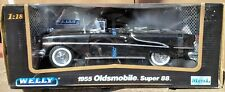 Welly 1955 Oldsmobile Super 88 Convertible 1:18 Scale Diecast Car Black Olds