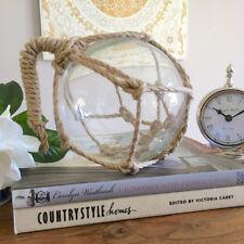 Rope & Clear Glass Float/Coastal Style Glass Ball/Hampton's Style Decor