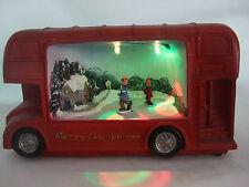 Light up bus noël ornement patinage sur glace neige scène (piles inc)