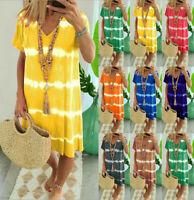Plus Size Womens Summer V-Neck Midi Dress Ladies Beach Casual Loose Boho Dress