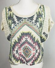 Pssst Womens Shirt Xlarge Aztec Design See Thru Short Sleeve Knit Crop Top