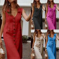 Women's Ladies Casual Solid Sleeveless V Neck Pockets Midi Dress Beach Sundress