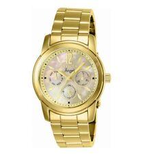 Invicta женские часы кварцевые ангел шампанское швабра циферблат Желтый золотой браслет 0466