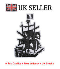 Pirate Ship Iron / Sew On Embroidered Patch Badge of caribbean Embroidery Motif