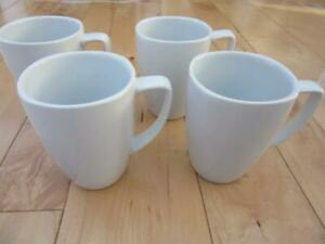 """CORELLE COORDINATES FOUR WHITE 4 3/8"""" TALL PORCELAIN COFFEE MUGS CUPS 4 3/8"""""""